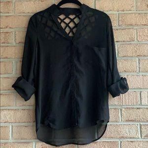 AMAZING BACK DETAIL - Black blouse - like new!